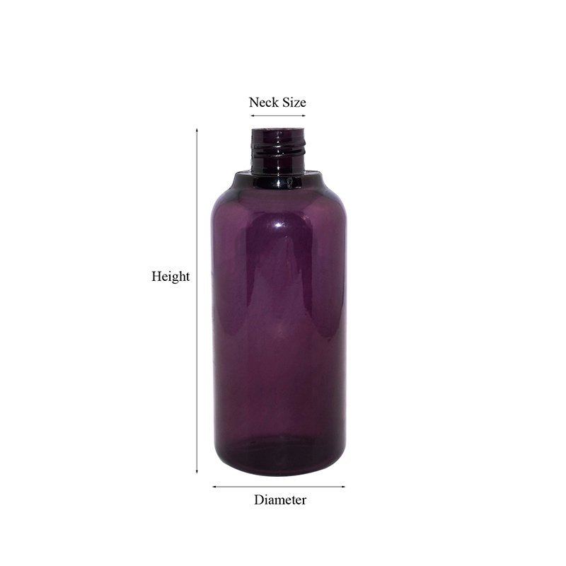 150ml 200ml purple Boston round shape PETG plastic cosmetic lotion spray bottle with mist sprayer and lid
