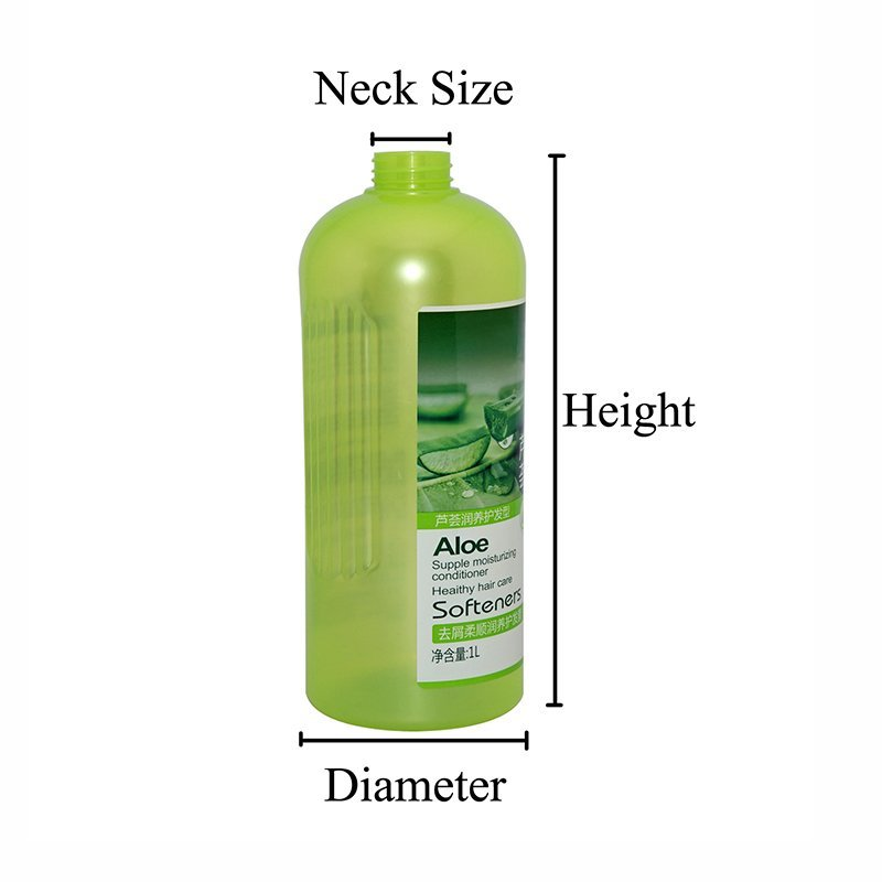 1100ml Plastic PET Semi-transparent Green Bottle With The Stickers and Lotion Pump For Shampoo Gel+CPPET0RSS056032113000004YM