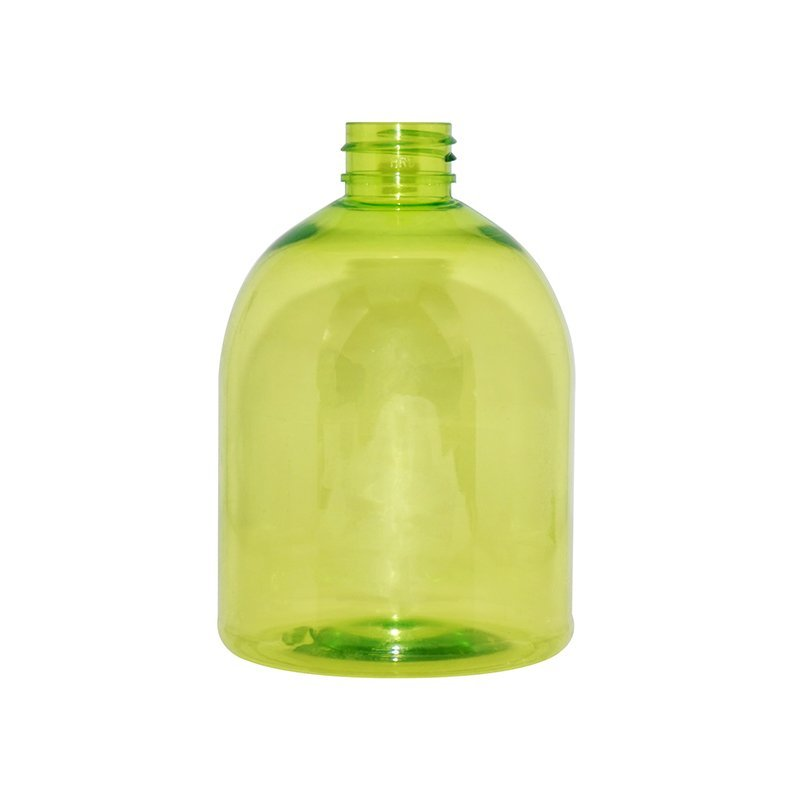 500ml Round Empty Semi-transparent Green Plastic PET Lotion Bottle With Lotion Pump+CPPET0RQT029028052400078YM