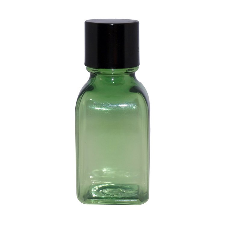 Small square PET plastic bottle in semi green color with screw cap +CPPET0RBT007018003300102YM