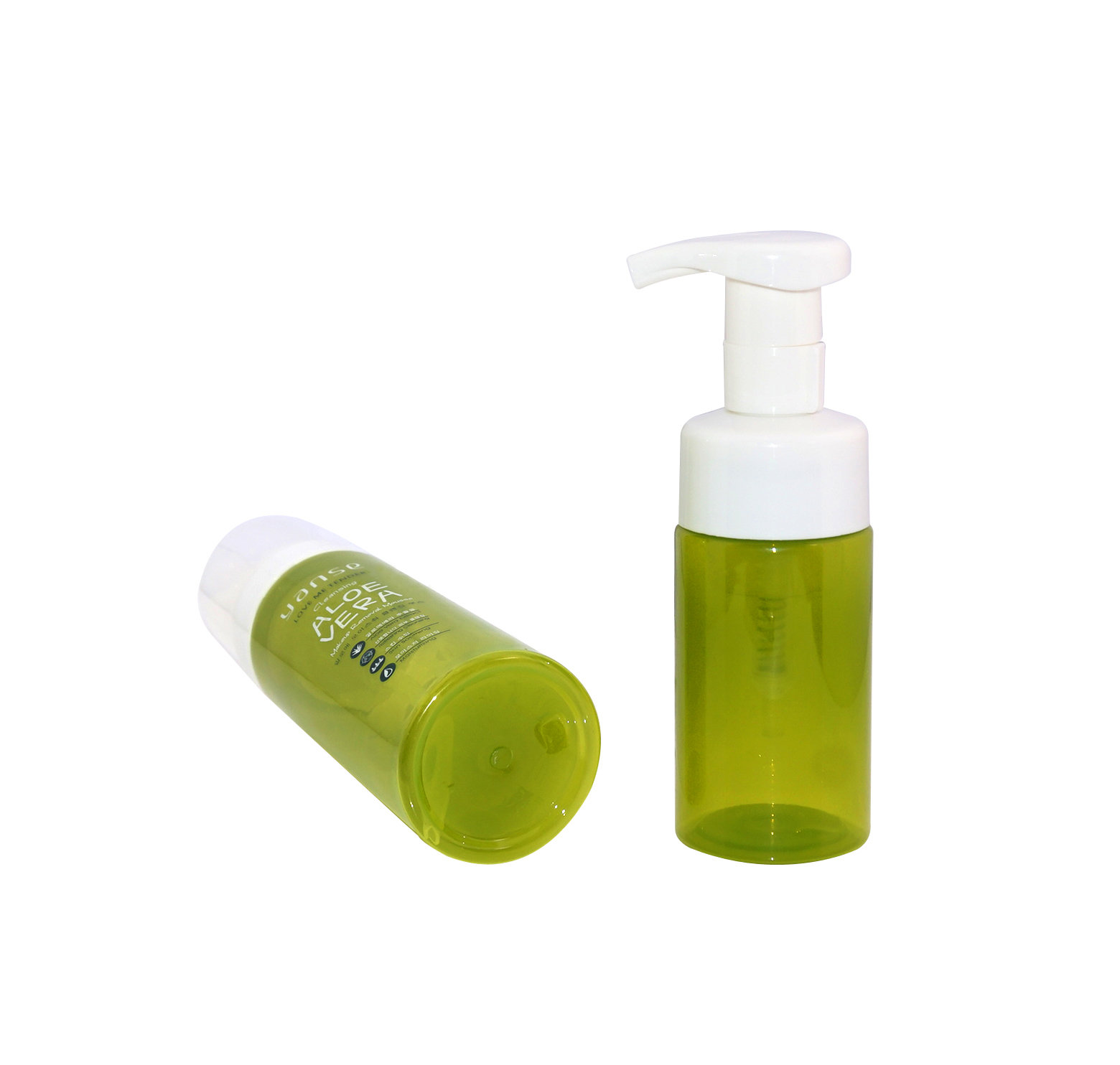 Cylinder cosmetic PET plastic bottle with foam pump for personal care+CPPET0RQT012030006400011XN