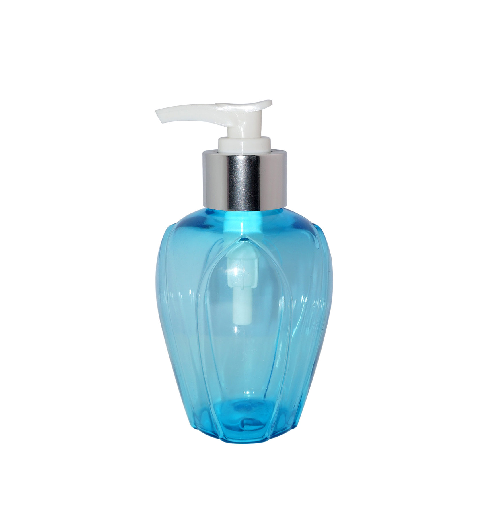 Wholesale special shape design 200ml blue plastic PET cosmetic lotion bottle with pump for lotion, sleeping mask
