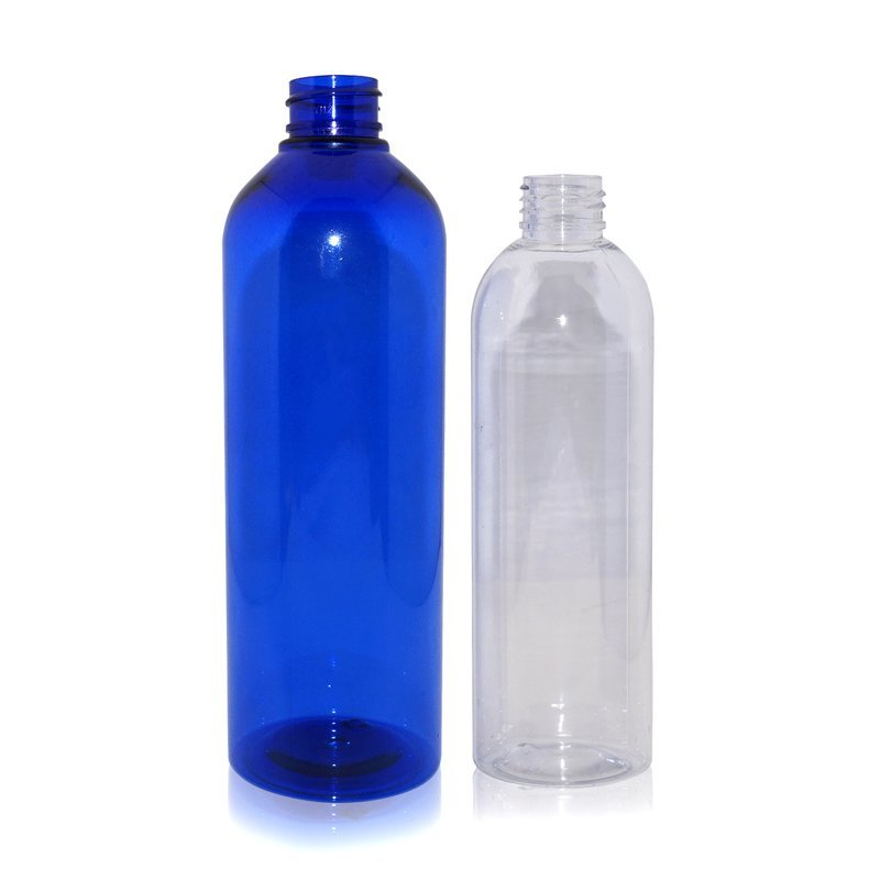 Customized 250ml 500ml clear PET plastic Boston round shape bottle spray cosmetic bottles manufacturers
