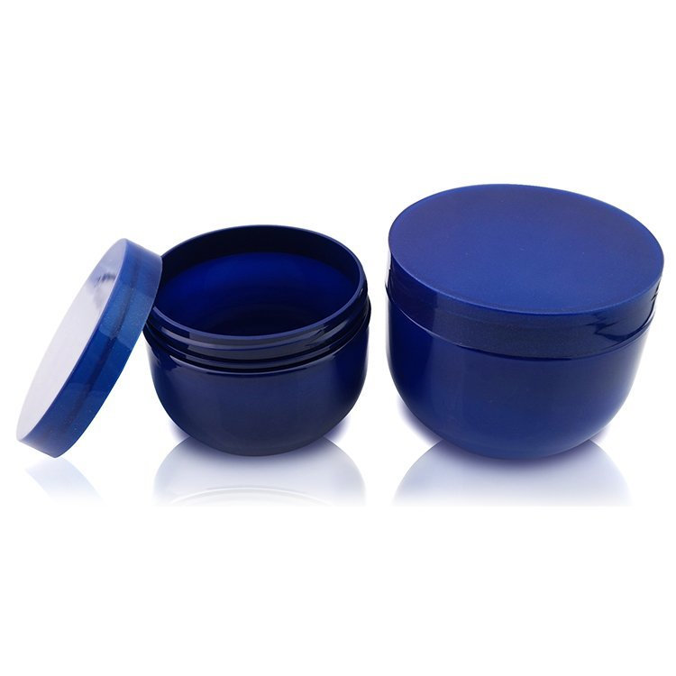 Best Price 300ml 500ml cosmetic blue plastic jar pet shampoo jar with screw cap/lid wholesale