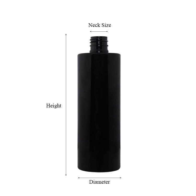 Customization 500ml new luxury design black color cylinder shape plastic PET shampoo bottle with lotion pump for personal care