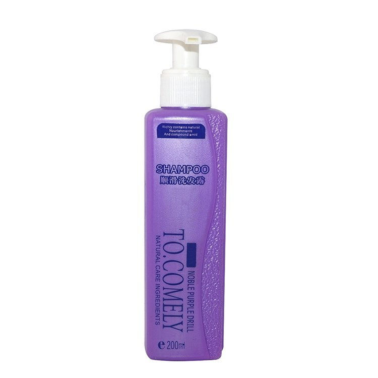 New design wholesale 200ml square shape purple color cosmetic PE plastic shampoo bottle with lotion pump