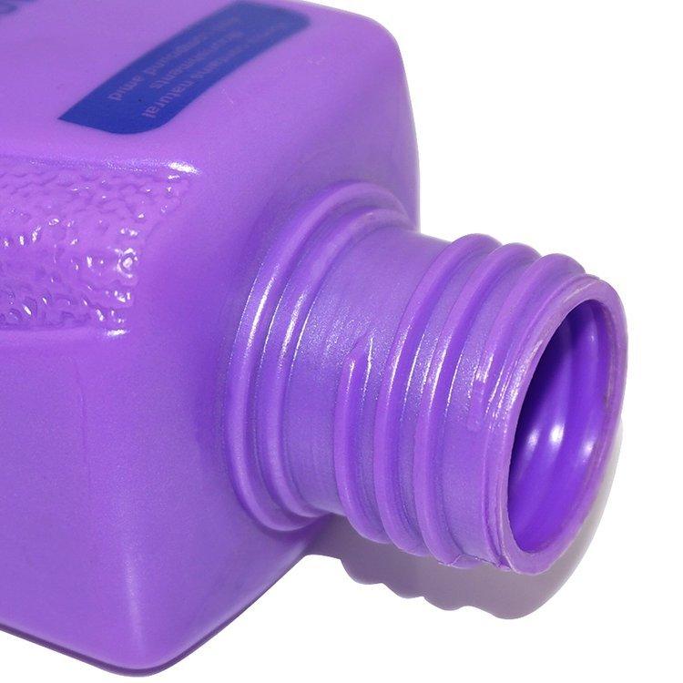 New design wholesale 200ml square shape purple color cosmetic PE plastic shampoo bottle with lotion pump