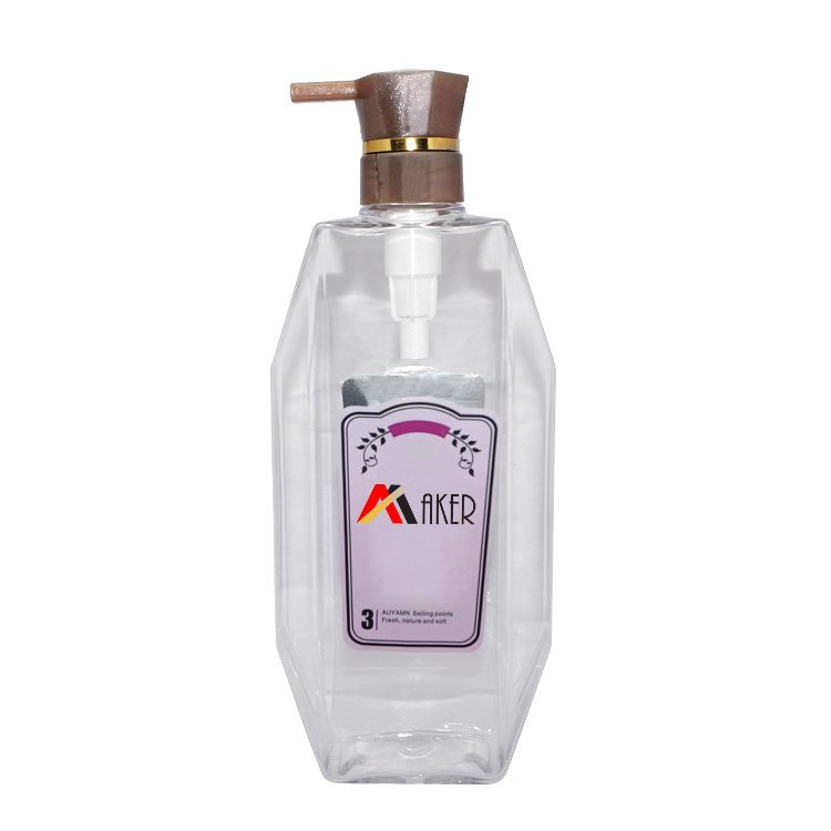 Wholesale big capacity 950ml square clear cosmetic PET plastic body wash shower gel bottle with lotion pump