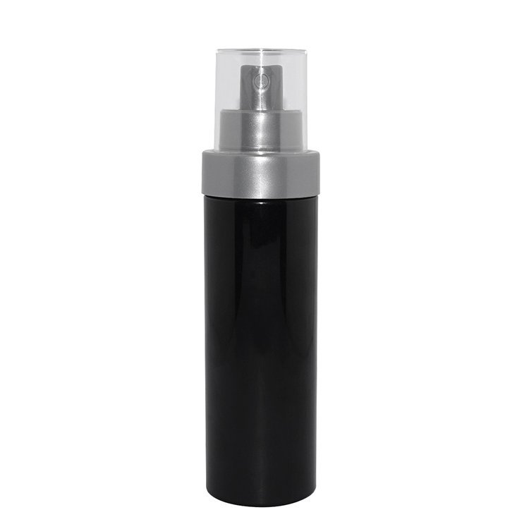 Factory wholesale 100ml cylinder black bottle PET plastic cosmetic pump sprayer bottle supplier for facial toner