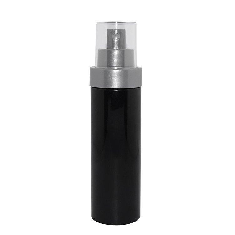 Factory wholesale 100ml cylinder black bottle PET plastic cosmetic pump sprayer bottle supplier for facial toner