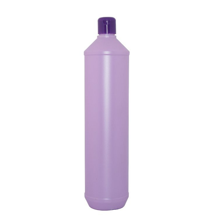 Empty 800ml purple round HDPE plastic dish washing detergent bottle with flip top cap for wholesale