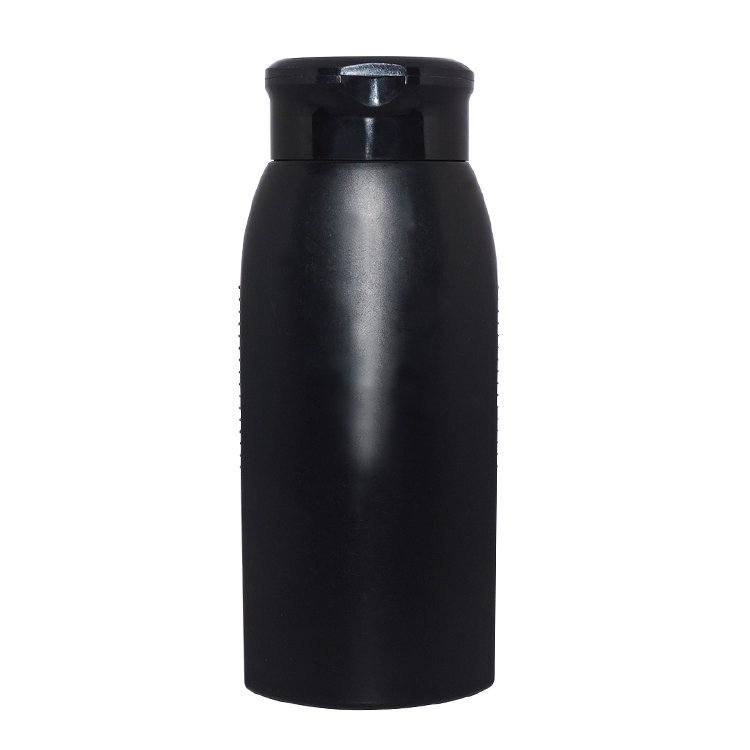 Factory supplier 500ml empty black HDPE plastic bottle for shampoo with flip top cap