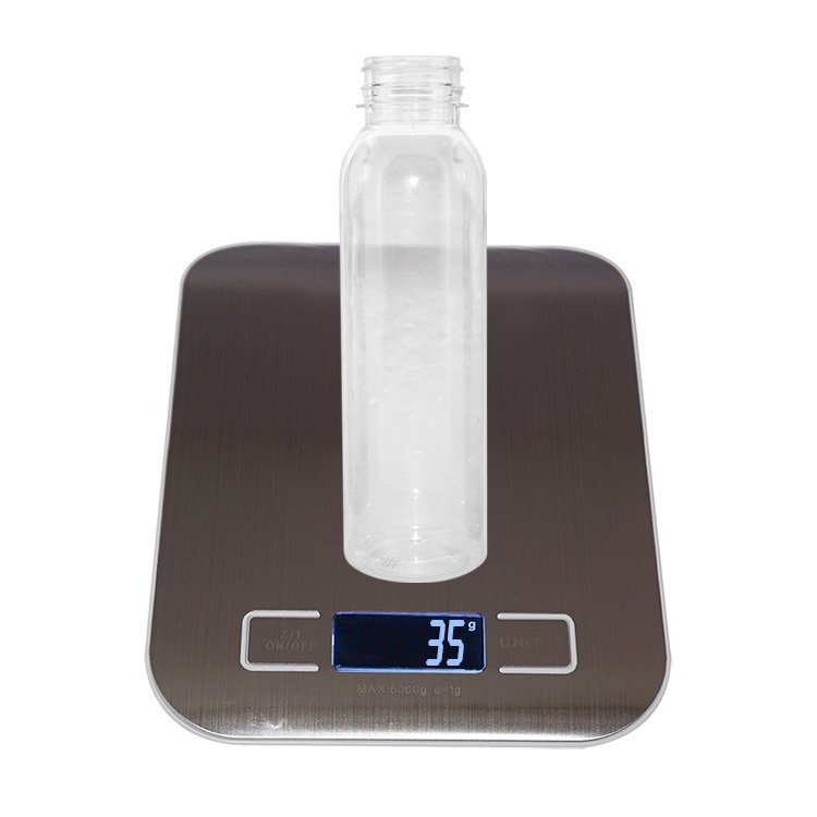 Custom clear 350ml 400ml Boston round plastic PET juice beverage bottle with tamper proof cap wholesale