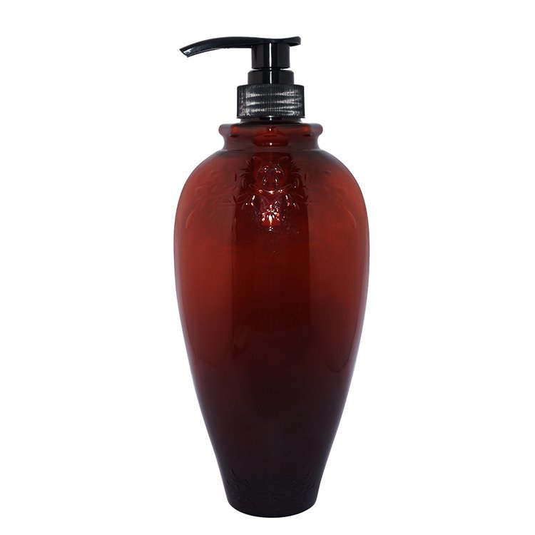 New design 800ml amber round shape PET plastic eco friendly shampoo bottles manufacturer with lotion pump