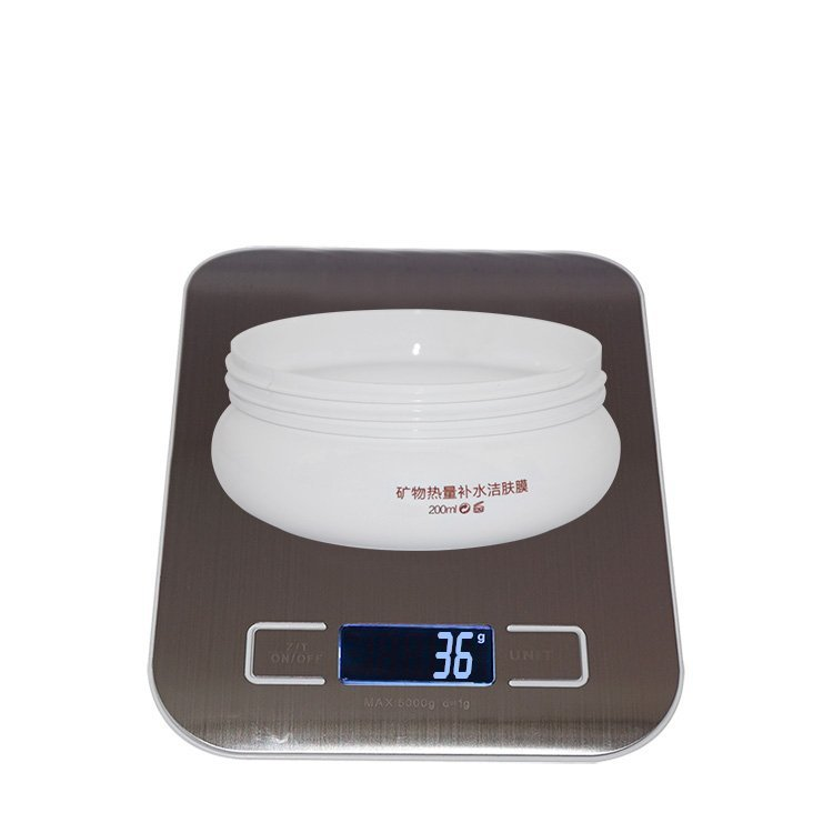 New design 200ml empty white round shape  plastic PET cosmetic cream jar with black matte lid