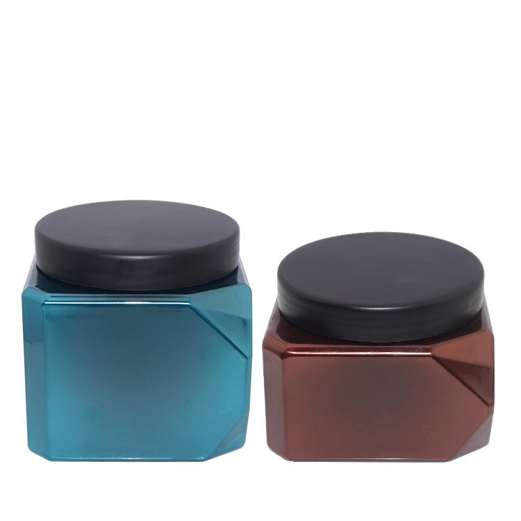 New design empty 550ml 700ml blue coffee square PET hair care packaging jar cosmetic plastic jar with screw cap