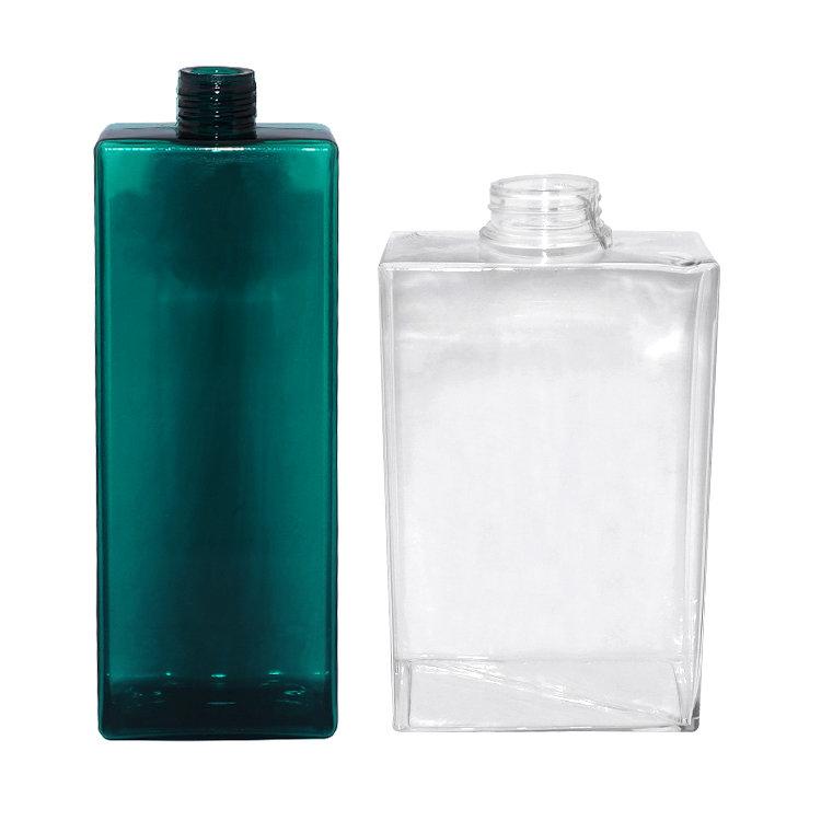 Empty 200ml 500ml transparent square PETG plastic cosmetic shampoo bottle manufacturers with lotion pump & mist sprayer pump