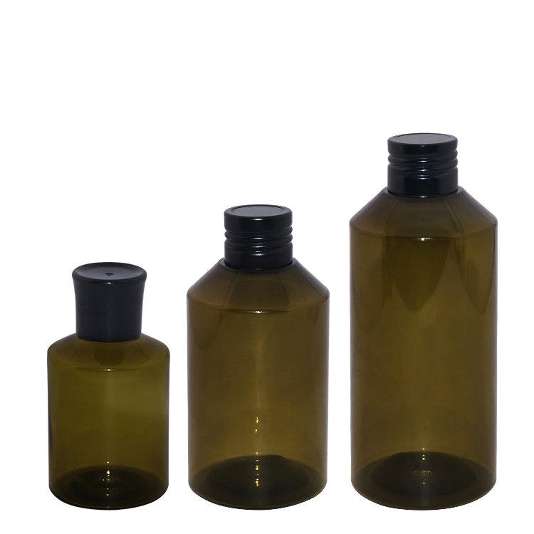 Wholesale 50ml 150ml 200ml semi transparent Boston round cosmetic PET plastic lotion bottle with aluminum screw cap