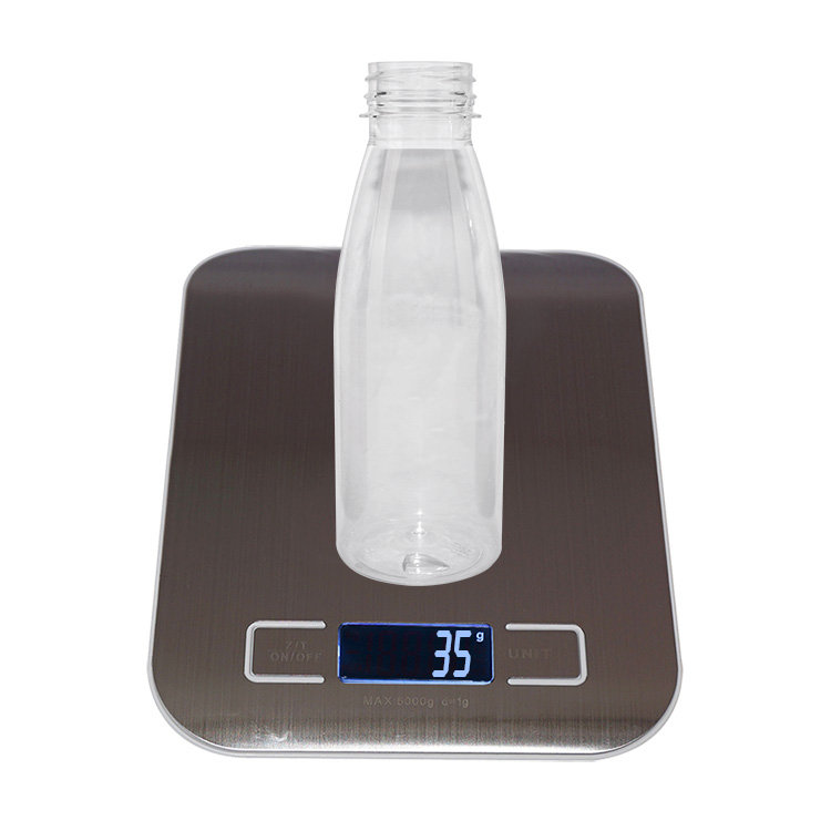 China supplier 350ml clear plastic PET juice water bottle Boston round beverage bottles with black tamper proof screw cap