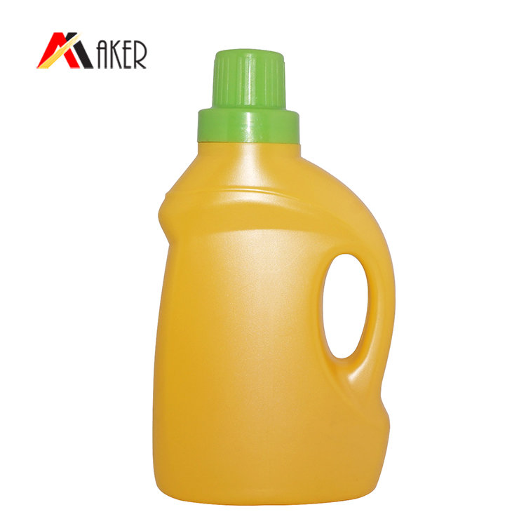 Hot selling design 500ml yellow empty plastic PE laundry detergent bottle with handle and screw cap