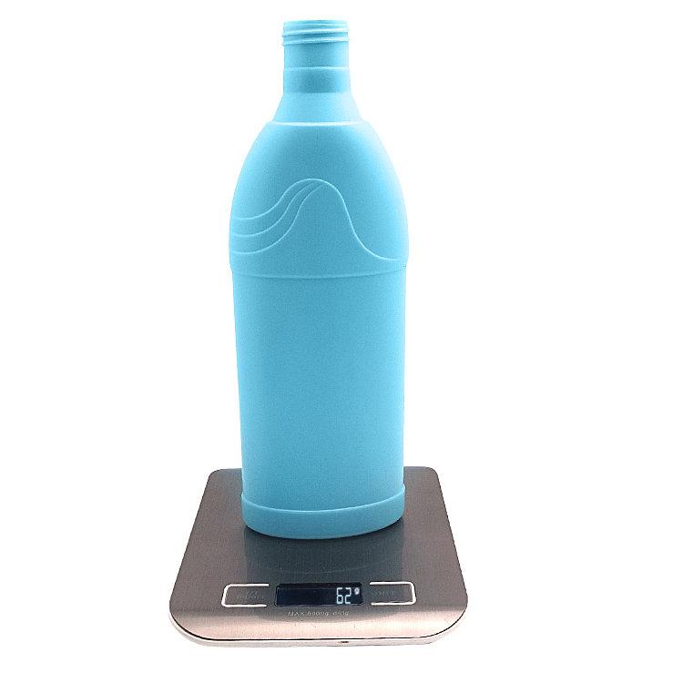 Factory supplier 600ml empty blue flat shape HDPE plastic laundry detergent bottle with plastic screw cap