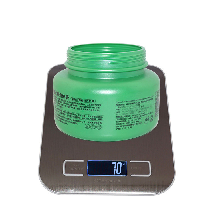 Wholesale price 1000ml round green PE plastic jars hair conditioner shampoo jar with screw cap