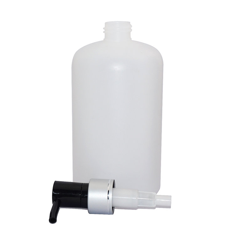 Factory price 500ml white Boston round baby PE plastic shampoo bottle with aluminum covered lotion pump