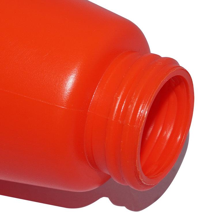 Custom luxury design plastic bottles 500ml red empty round shape PE shampoo bottle with clip lock lotion pump