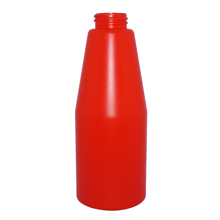Custom luxury design plastic bottles 500ml red empty round shape PE shampoo bottle with clip lock lotion pump