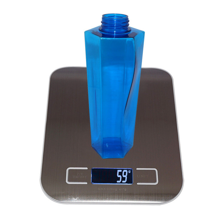 Factory price empty 350ml blue special square shape plastic PETG shampoo bottle wholesale with lotion pump