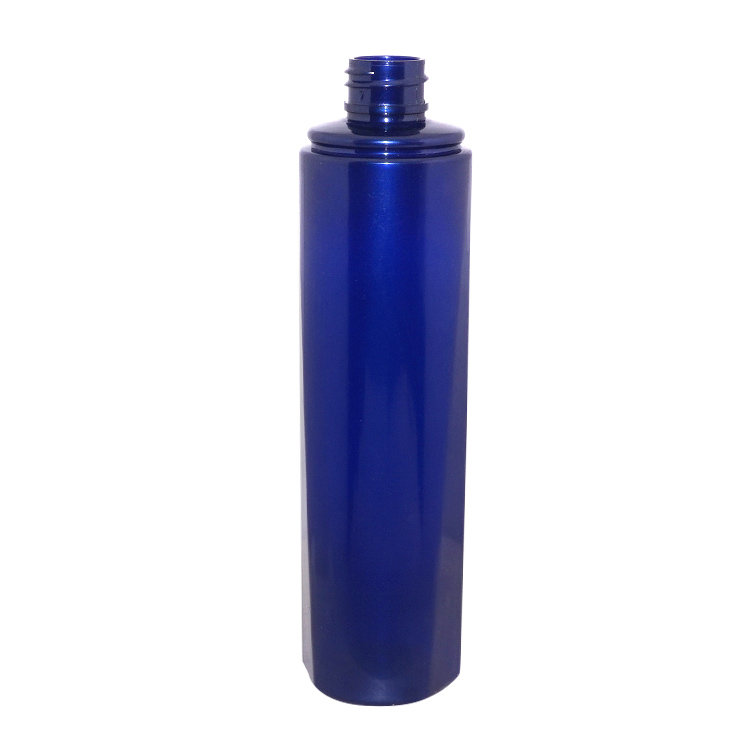 Empty 150ml round blue PET plastic cosmetic hair care packaging shampoo bottle supplier with lotion pump cap