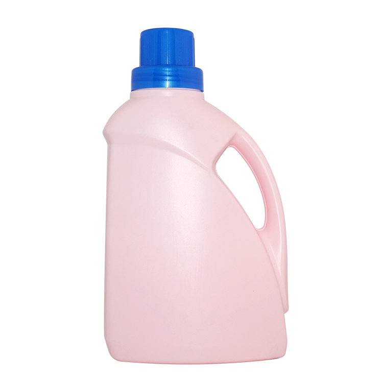Hot selling 2L Pink color classical shape HDPE plastic handle laundry detergent bottle with screw cap