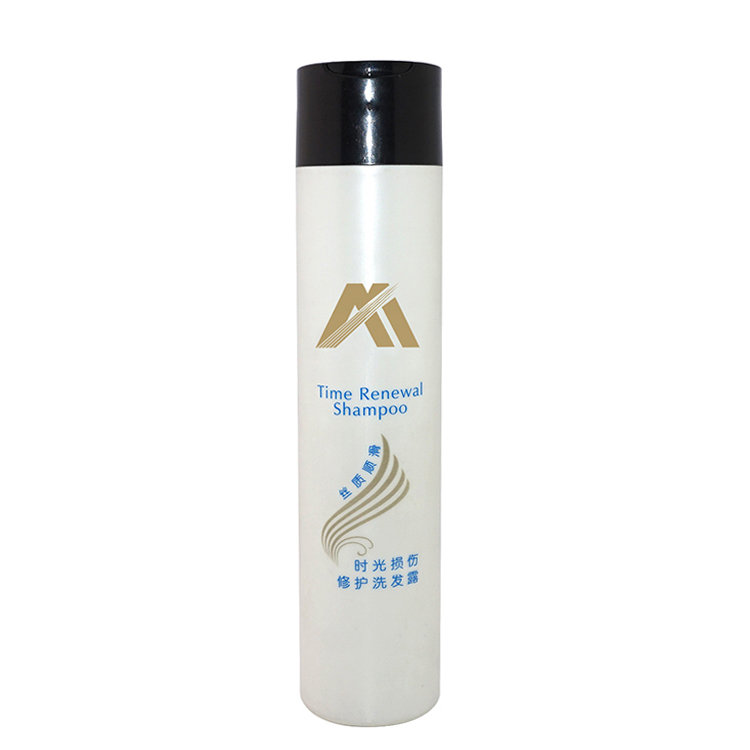 New design empty 300ml white cylinder shaped PE plastic hair care packaging bottle supply with disc cap for shampoo