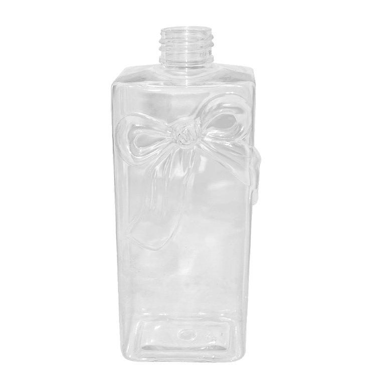 Factory wholesale empty 300ml clear square cosmetic makeup remover plastic PET lotion bottle with flip top cap