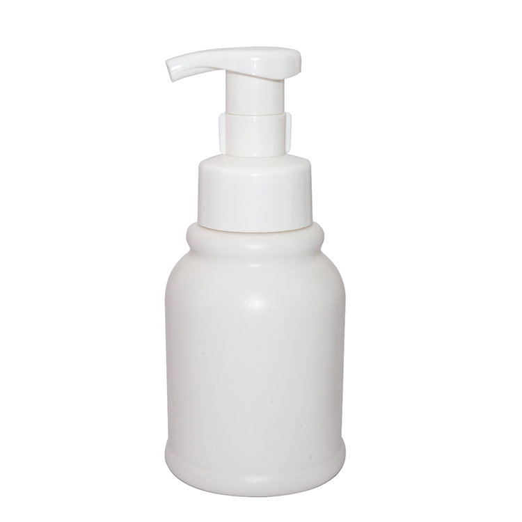 Wholesale price white cylinder 350ml PE  plastic cosmetic body lotion bottle with  lotion pump