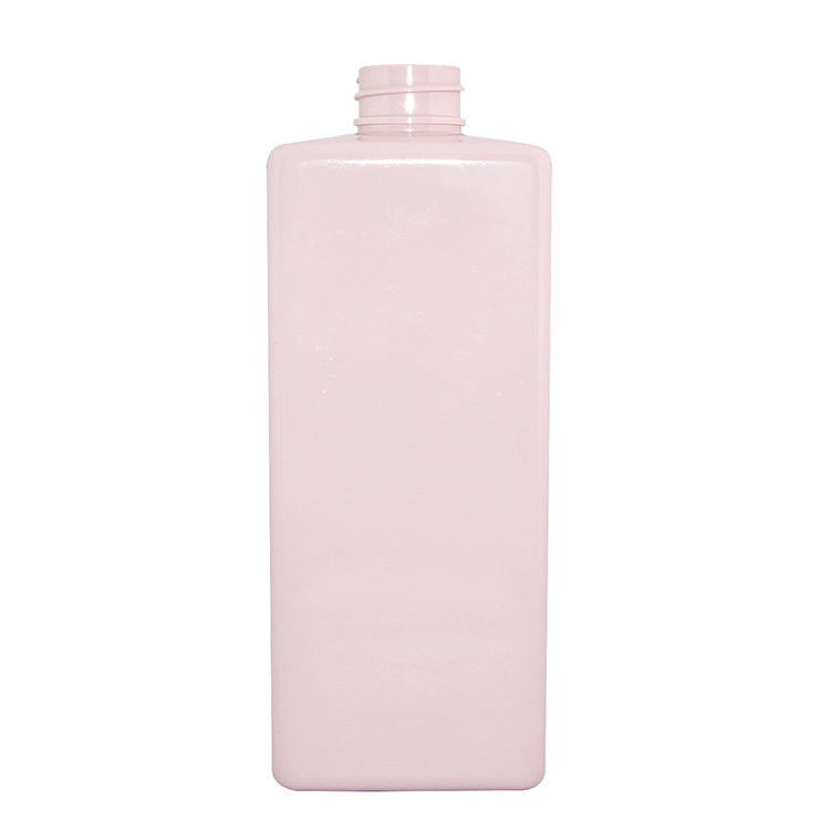 Factory supply 450ml pink square PET plastic  shampoo bottle wholesale with lotion pump