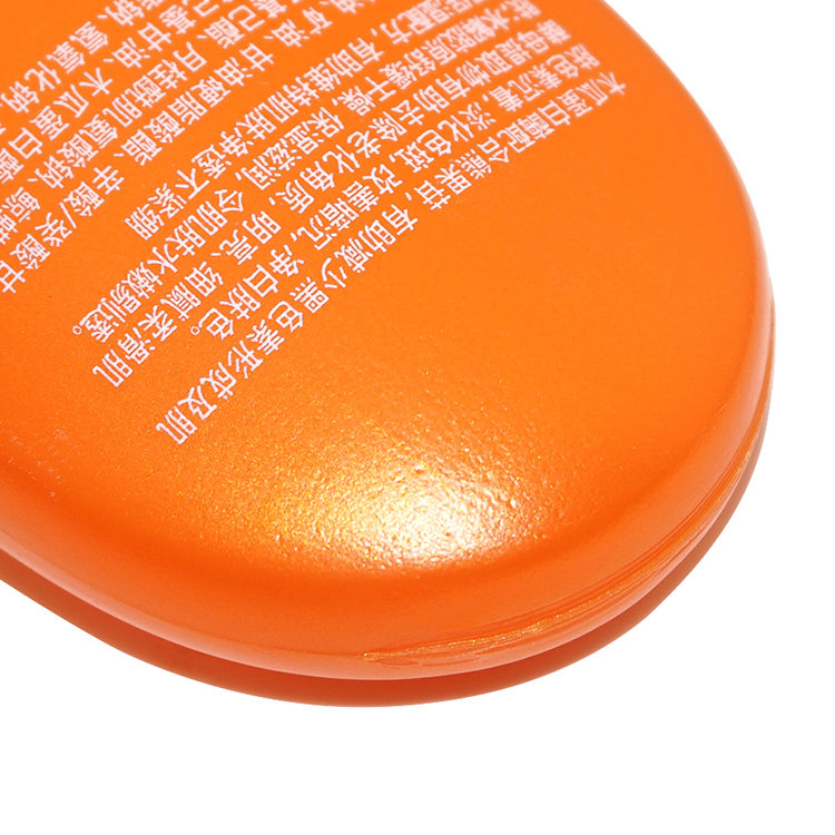 New design 100ml flat shape orange squeeze PE plastic cosmetic cream bottle with flip top cap