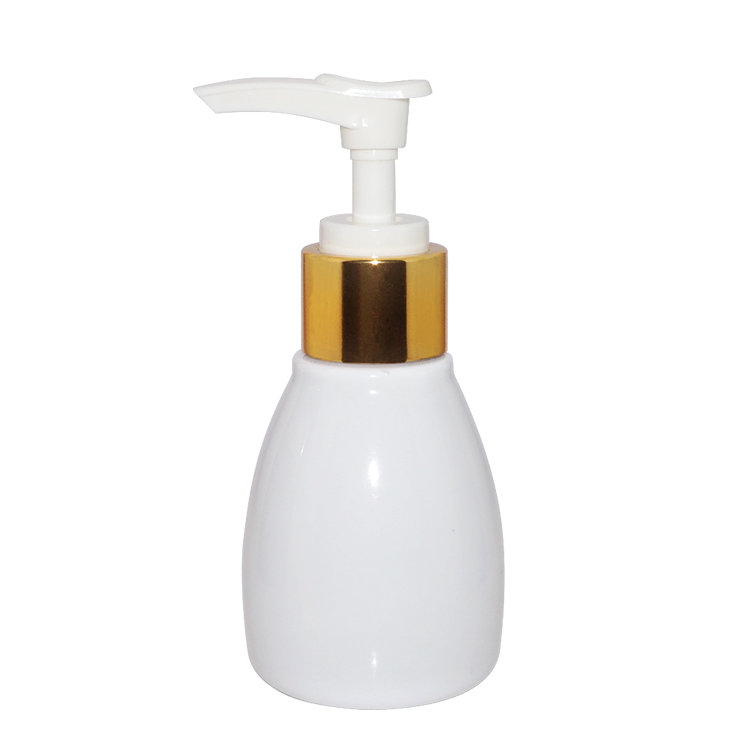 Empty 90ml pearl white special shape PET plastic cosmetic lotion bottle with lotion pump