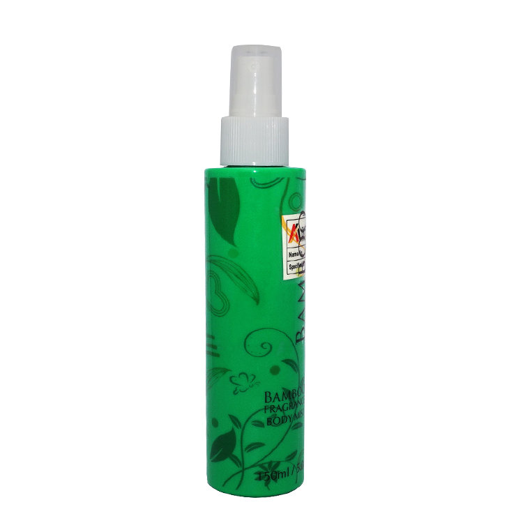 Factory wholesale price empty 150ml green cylinder shape PET plastic spray bottle with mist spryaer