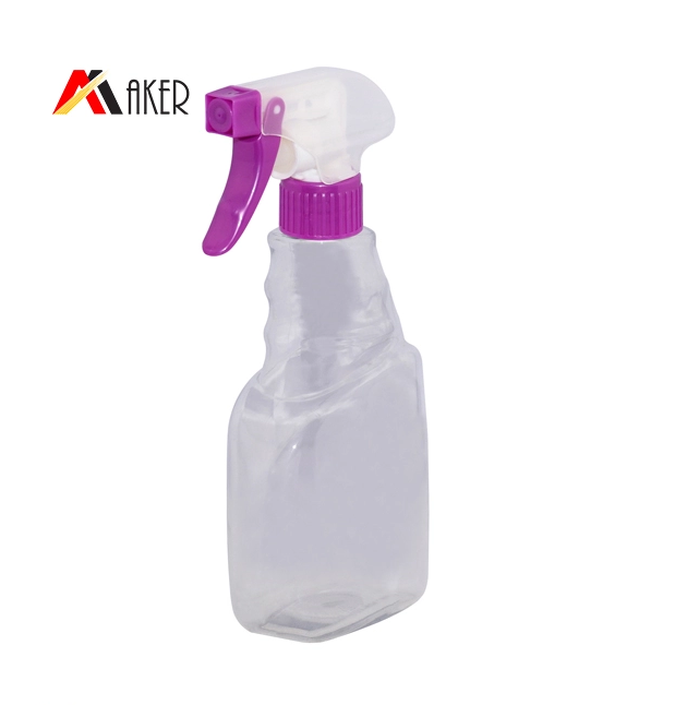 Factory wholesale 400ml and 500ml transparent PET empty detergent bottle with 28mm trigger sprayer