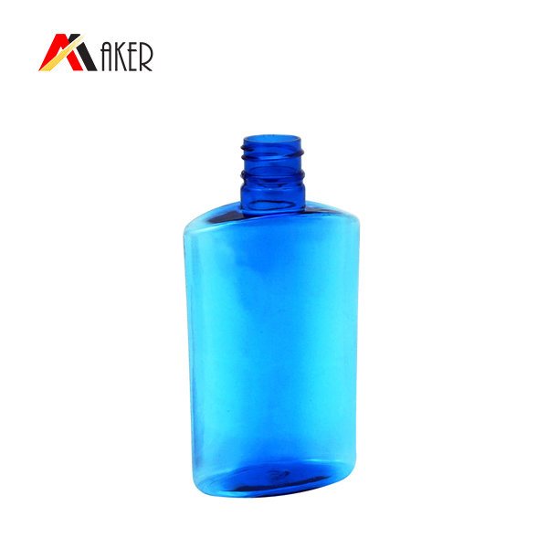 Factory direct Sale custom 100ml blue color flat shape PET plastic lotion shampoo bottle with screw cap