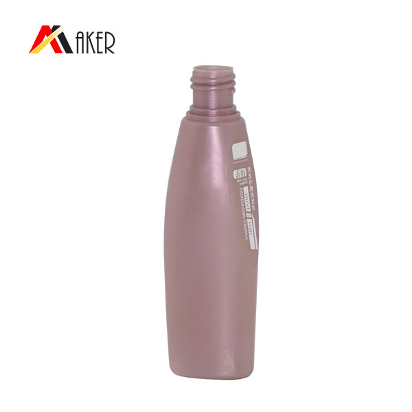 Hot selling 100 ml special shape purple PE plastic shampoo bottle packaging wholesale with lotion pump
