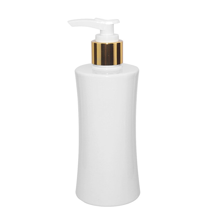 Hot selling wholesale 250ml white special round PET plastic lotion bottle with pump
