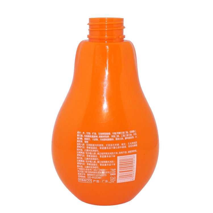 Custom design wholesale price orange color special shape 300ml plastic PET shampoo bottle with lotion pump