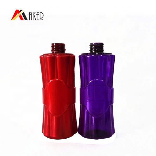 Empty 500ml purple round shape PET plastic shampoo bottle China wholesale