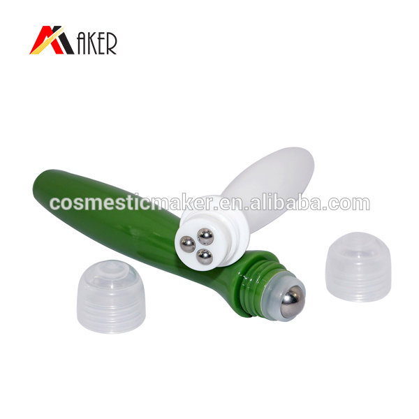 15ml PETG plastic roll on bottle empty green round plastic roller bottle wholesale with metal ball