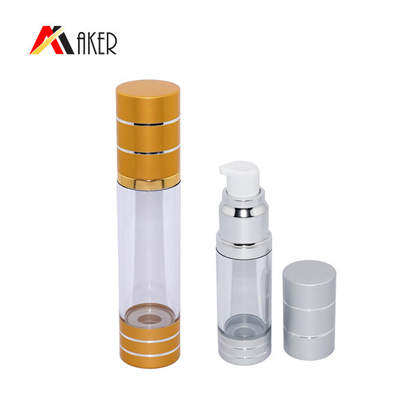 30ml Cosmetic airless pump bottle with aluminum edging cover