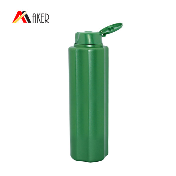 Empty PE shampoo bottle oval shape green 200ml PE plastic bottle for shampoo with flip top cap