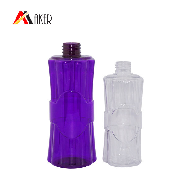 Wholesale empty shampoo bottle 500ml purple round shape PET plastic bottle supplier
