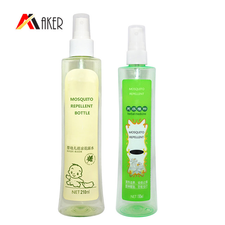 Best price empty 200ml transparent round PET plastic spray bottle for mosquito repellent